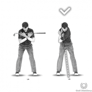 Make sure that you rotate your upper body during the backswing