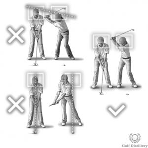 La tête doit rester dans la boîte pendant le backswing; il ne doit pas se déplacer verticalement ou horizontalement