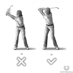 Wrists should be fully hinged at the top of the swing