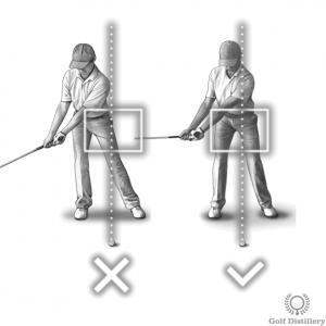 Les hanches doivent rester dans la boîte pendant le backswing; ils ne doivent pas glisser (se balancer) en arrière