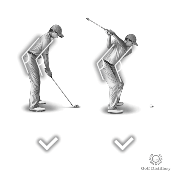 Spine angle during the backswing should match the one set at address