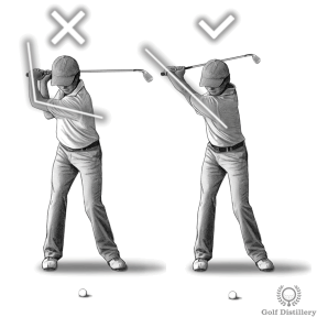 Keep the left arm straight swing thought