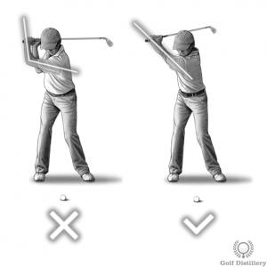Le bras gauche doit rester droit pendant le backswing