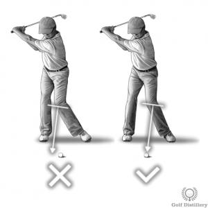 Le genou gauche doit pointer vers le ballon pendant le backswing