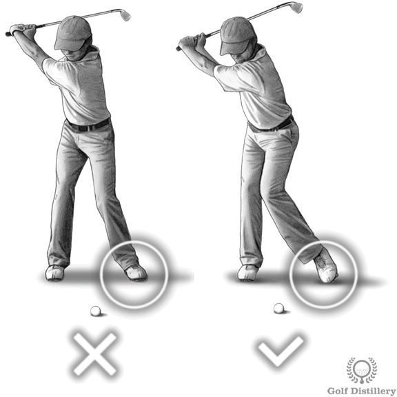 Point foot towards a swinging