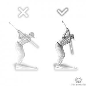 Use a steeper swing when the ball is below your feet