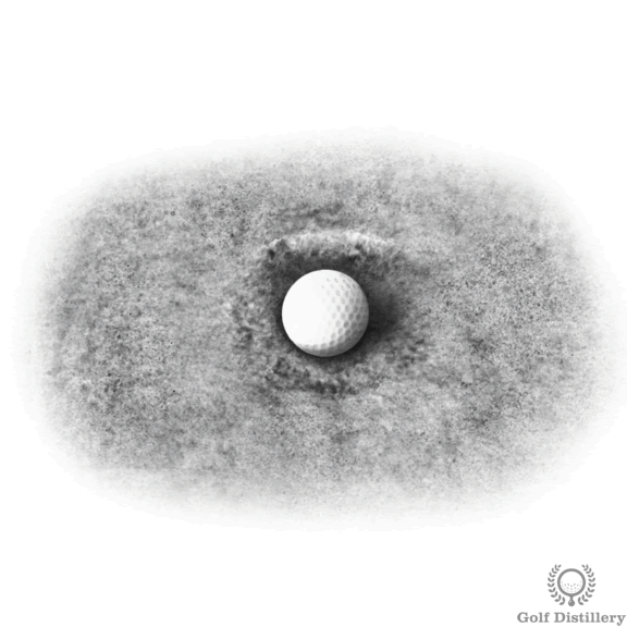 Fried-egg bunker shot lie