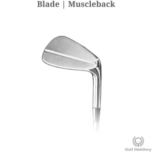 The clubhead of a Blade (Muscle Back) type of iron golf club