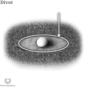 Divot shown with a golf ball within