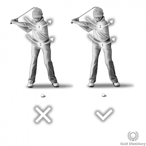 Hips should begin motion on the downswing; shoulders should follow, not lead