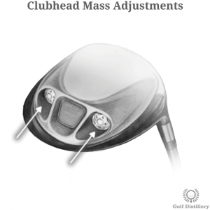 Closeup of a driver clubhead showing mass customization options