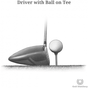 Driver golf club with a ball on a tee in front