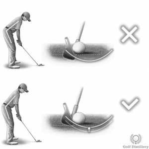 A spine angle that bends the upper body forward too much can lead to a fat shot