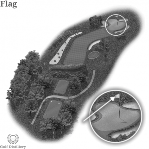 A golf flag is located on a golf hole