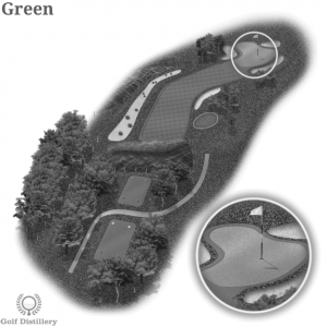 The green is located on a golf hole