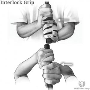 Interlock grip type in golf