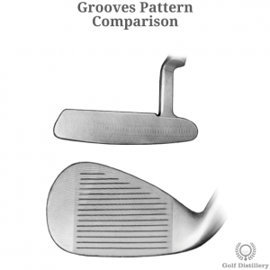Comparison between groove paterns found on a putter and a wedge