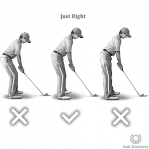 A comfortable and intermediate knee bend should be sought at address