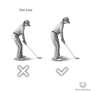 Knees should not be bent too much at address