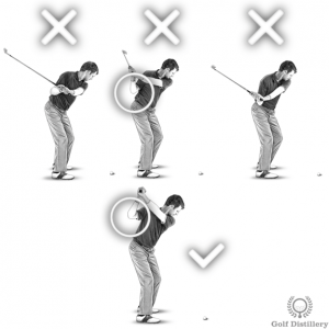 The problem with a laid-off club position is that you can get stuck in your backswing