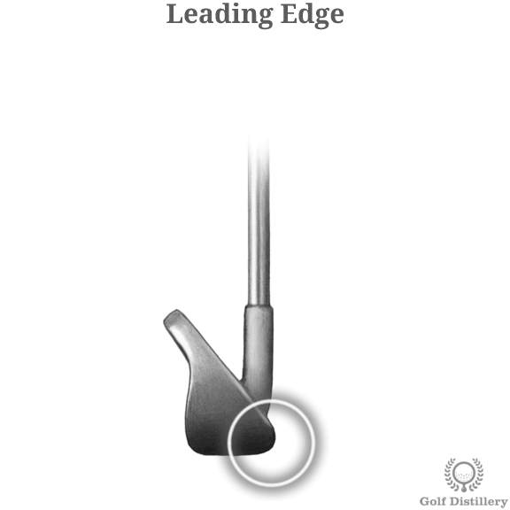 The leading edge of a golf club