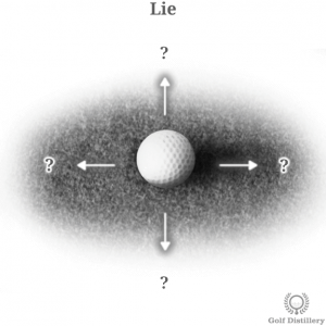 Visual representation of assessing a golfer's lie