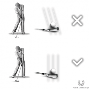 Locking the left knee leads to an outside-in club path
