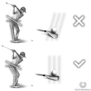 Locking the right knee leads to an inside out swing