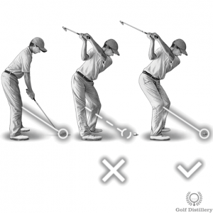 Imagine your right knee is tied to the ball with a string; don't pull that string during your backswing