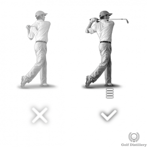 Your weight should be almost entirely on your front foot at the follow through
