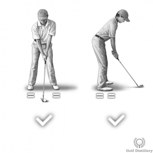 Your weight should be equally distributed between your two feet at address for full swing golf shots