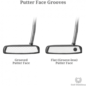 Putter face with grooves vs flat putter face (groove-less)