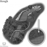 The golf term Rough is located on a 3D graphic of a golf hole