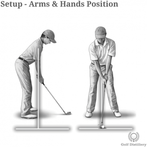 Arms and hands position in a golf setup