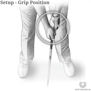 Grip position in a golf setup