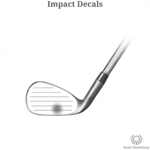Impact decals applied to the clubface of a golf club