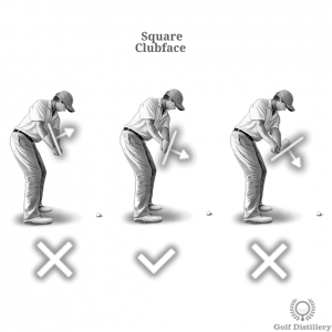 Square clubface at the takeaway sees it angled towards the ground slightly