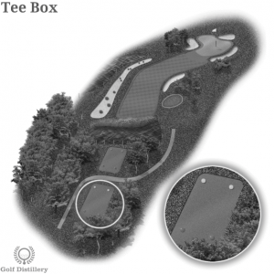 The Teeing Ground is located on a 3D graphic of a golf hole