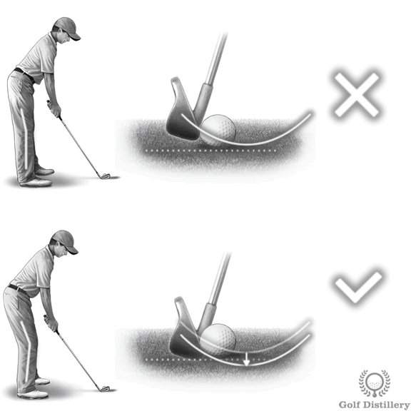 Not bending your knees properly at address can lead to thin shots