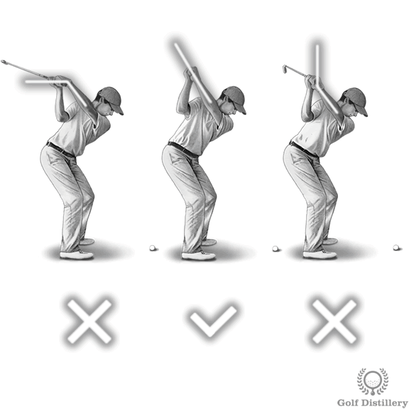 Left wrist should be flat at the top of the swing; Don't cup or bow wrists