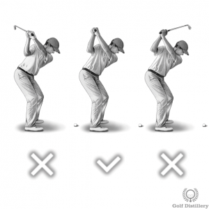 Shaft should point at the target at the top of the swing