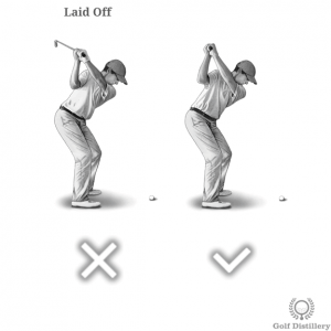 Club should not be in a laid off position at the top of the swing