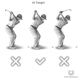 Shaft points at the target at the top of the swing