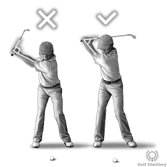 Hinge your wrists fully at the top of your swing