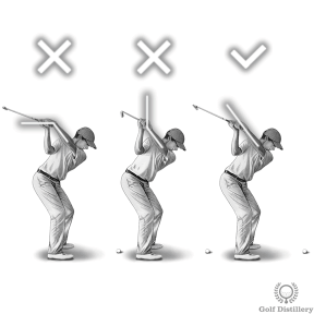 Hinge your wrists; don't cup or bow them at the top of your swing