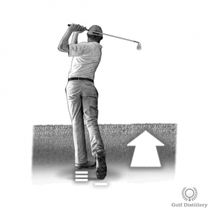 Perform a complete follow through when hitting from an upslope