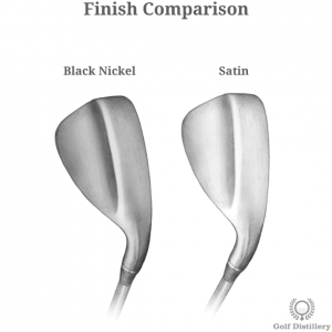 Comparison of different wedge finish options in golf clubs (satin, black nickel)
