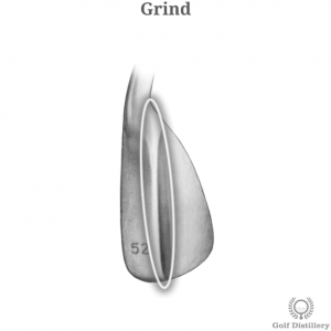 Grind as found on the sole of a wedge golf club