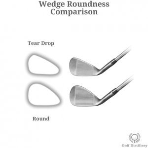 Comparison of wedge with a round clubhead and one with a teardrop one