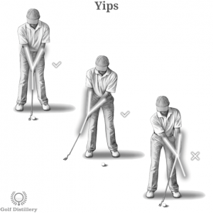 Golfer with a Yips swing error